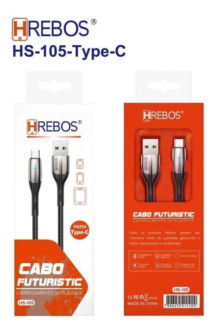 Cabo Turbo Futuristic 3.1A - 1.2M (pontas metálicas) Tipo C Hs-105