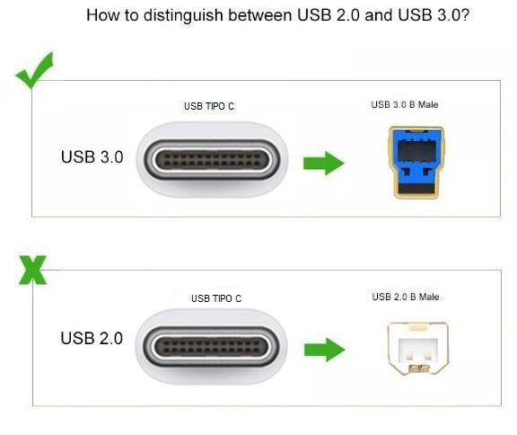 Cabo Impressora 2m | USB 3.0 TIPO C x BM | Oletech