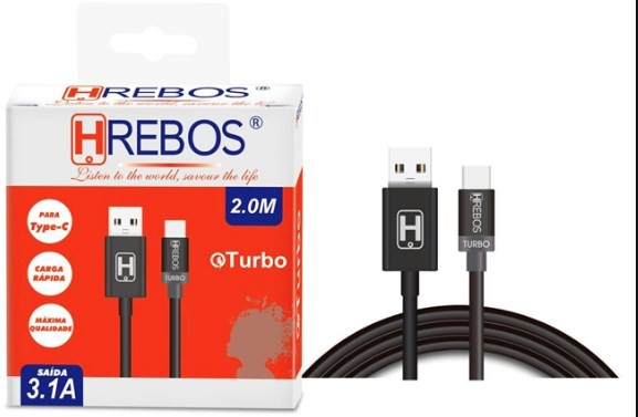 Cabo USB 3.1A 2m Tipo C PRETO HS64 - HREBOS
