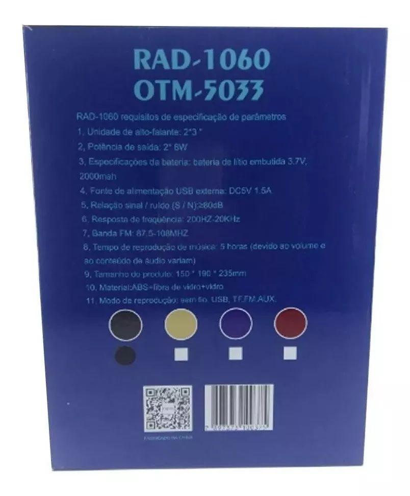 Caixa de som Bluetooth Portátil Inova Rad-1060