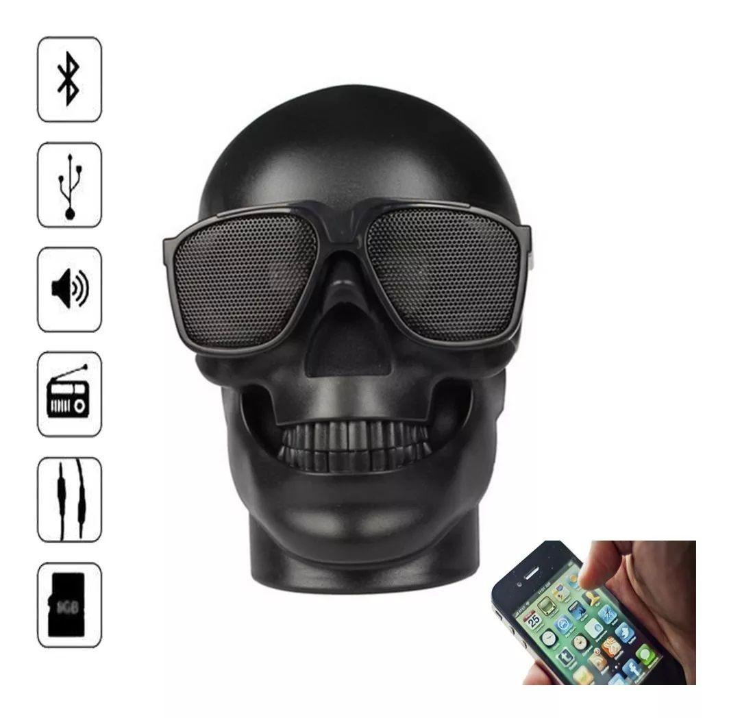 Caixa de Som Portátil Bluetooth Grasep D-Q6 Caveira Colorida