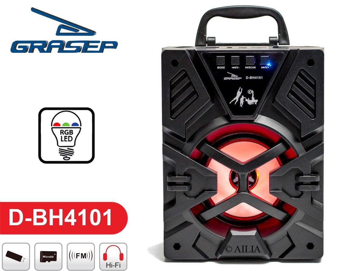 Caixa Som Bluetooth Portátil RGB Grasep D-BH4101