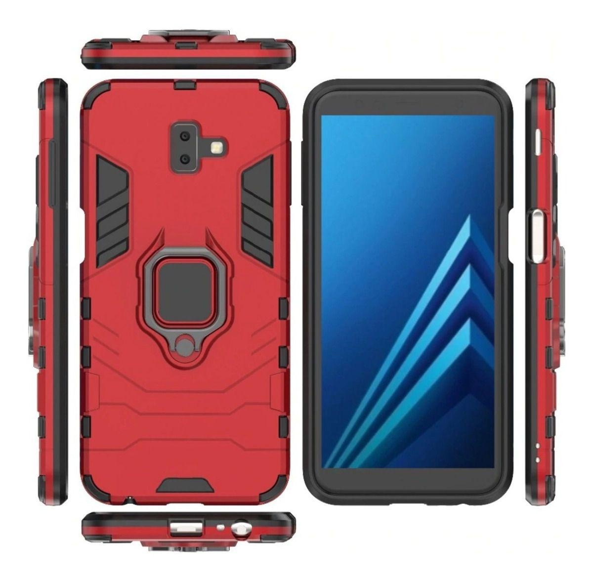 Capa Armadura + Película 5D Samsung J6 Plus Prime + Suporte Magnético