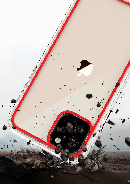 Capinha Acrílico Antishock c/ Borda Colorida + Película 5D Iphone 11, 11 Pro, 11 Pro Max