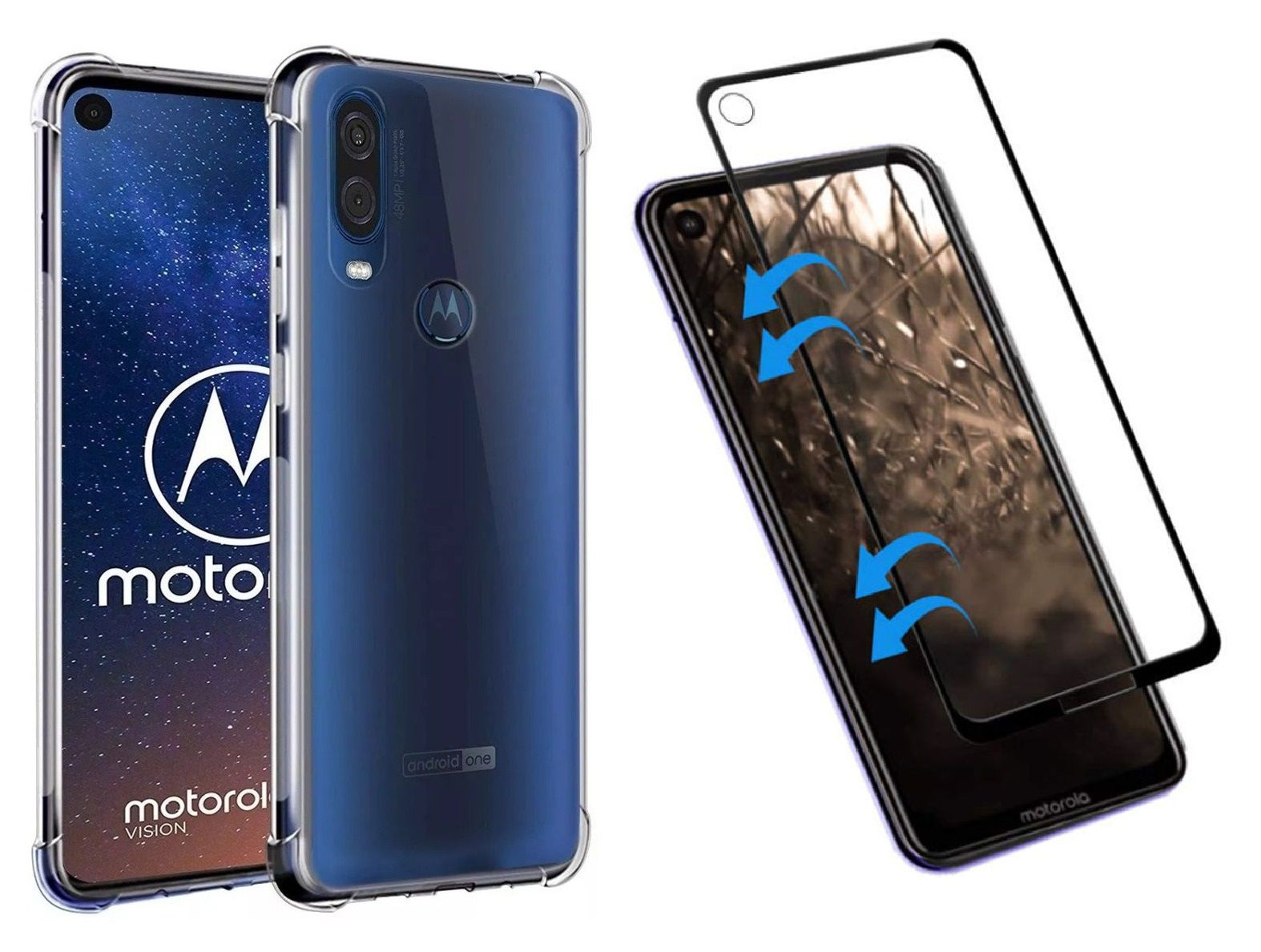 Capinha Anti-Shock + Película 5D Vidro Motorola One, One Vision, Action