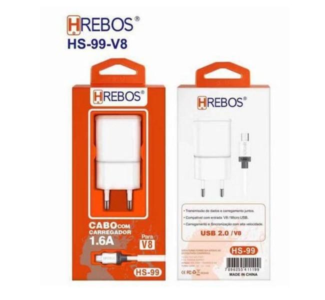 Carregador 1,6A + Cabo Micro USB - V8 HRebos HS99