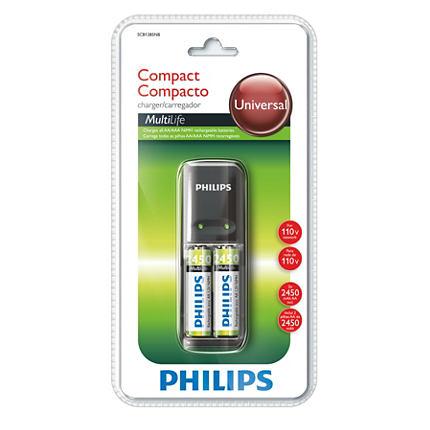 Carregador de Pilhas Philips AA/AAA SCB1285  - 110V