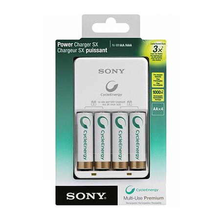 Carregador de Pilhas Sony AA ou AAA com 4 Pilhas AA 2100 mAh - Bivolt