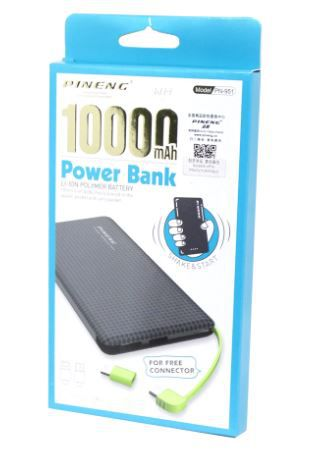 Carregador Portátil Power Bank Pineng 10000Mah Original Slim Preto - PN951