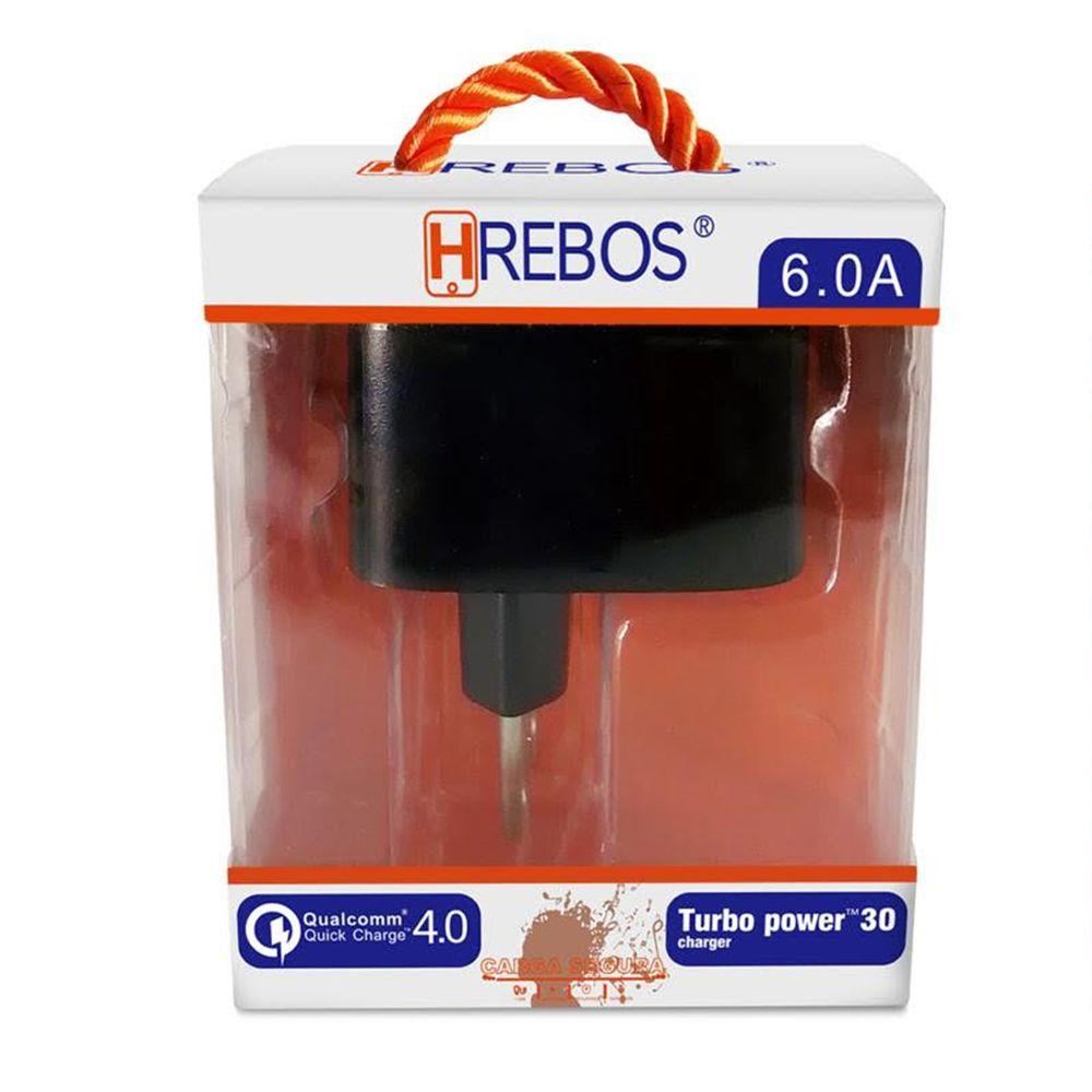 Carregador QC 4.0 Turbo 6.0A + Cabo Lightning HRebos HS58