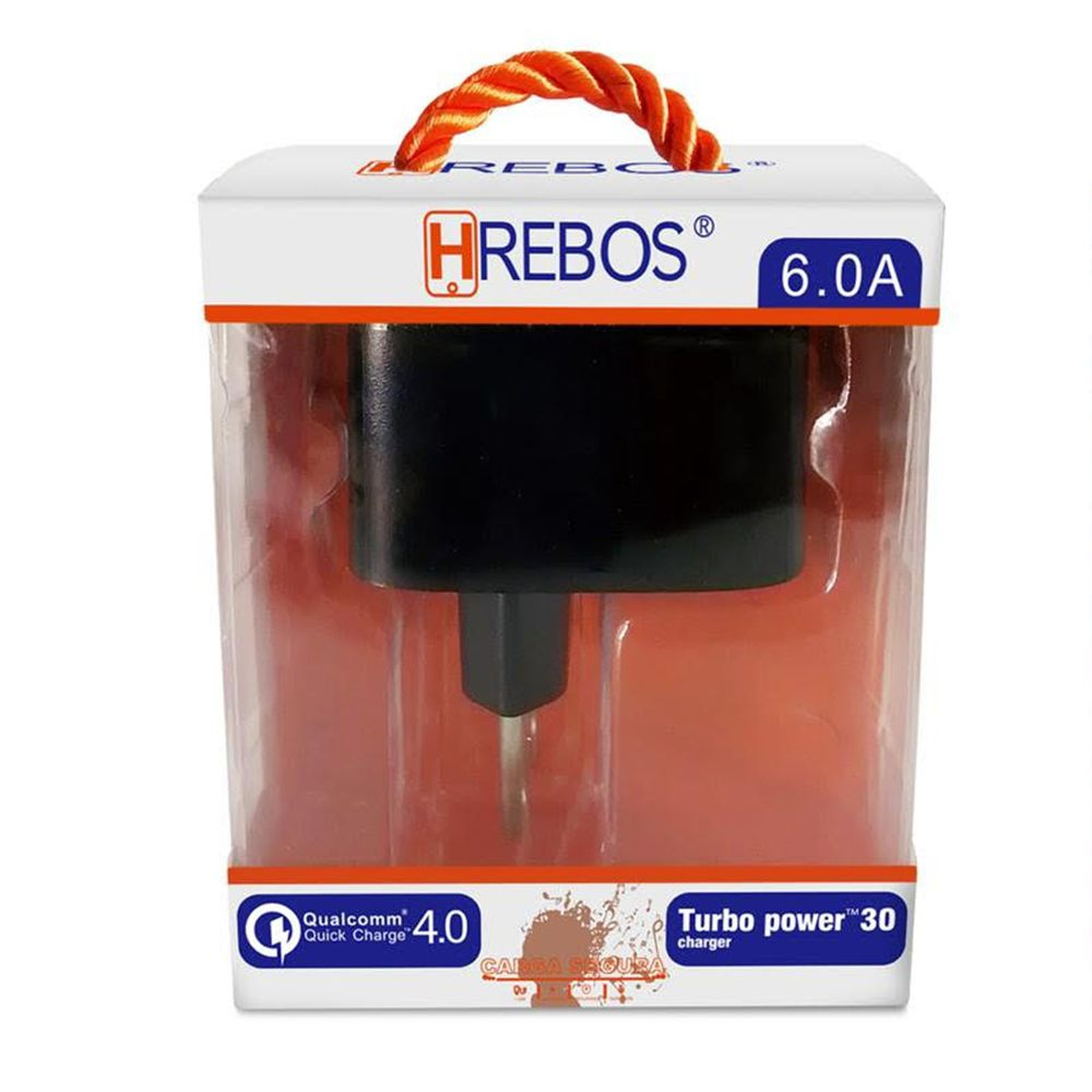 Carregador QC 4.0 Turbo 6.0A + Cabo V8 HRebos HS56