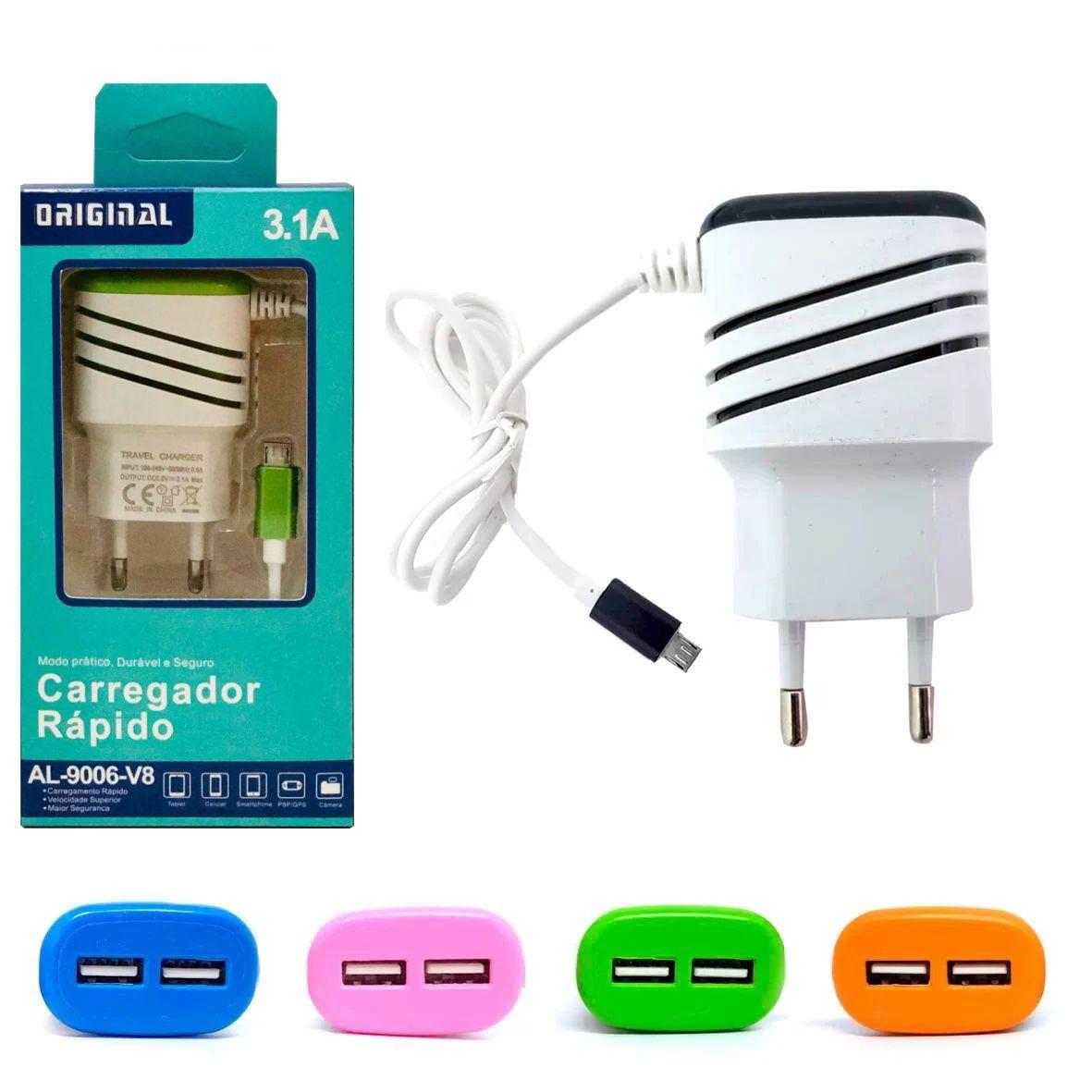 Carregador Rápido 2 USB C/ Cabo V8 Embutido 3.1A ORIGINAL