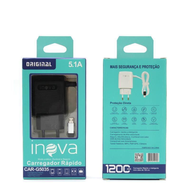 Carregador Rápido Inova 5.1A 3 Entradas USB C/ Cabo Embutido CAR-G5035