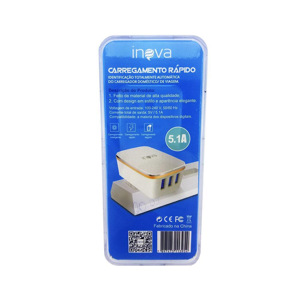 Carregador Rápido Inova 5.1A 3 Entradas USB CAR-8161