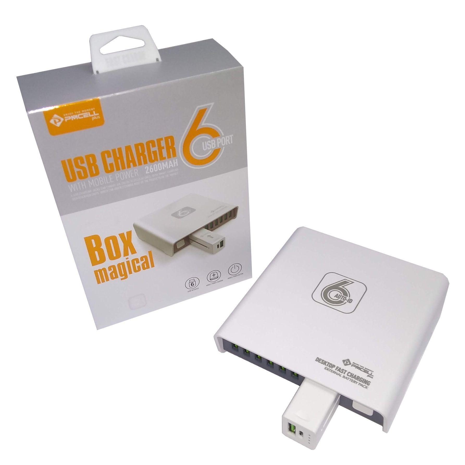 CARREGADOR TOMADA 6x USB TURBO C/ POWERBANK 2600MAH PMCELL HC54