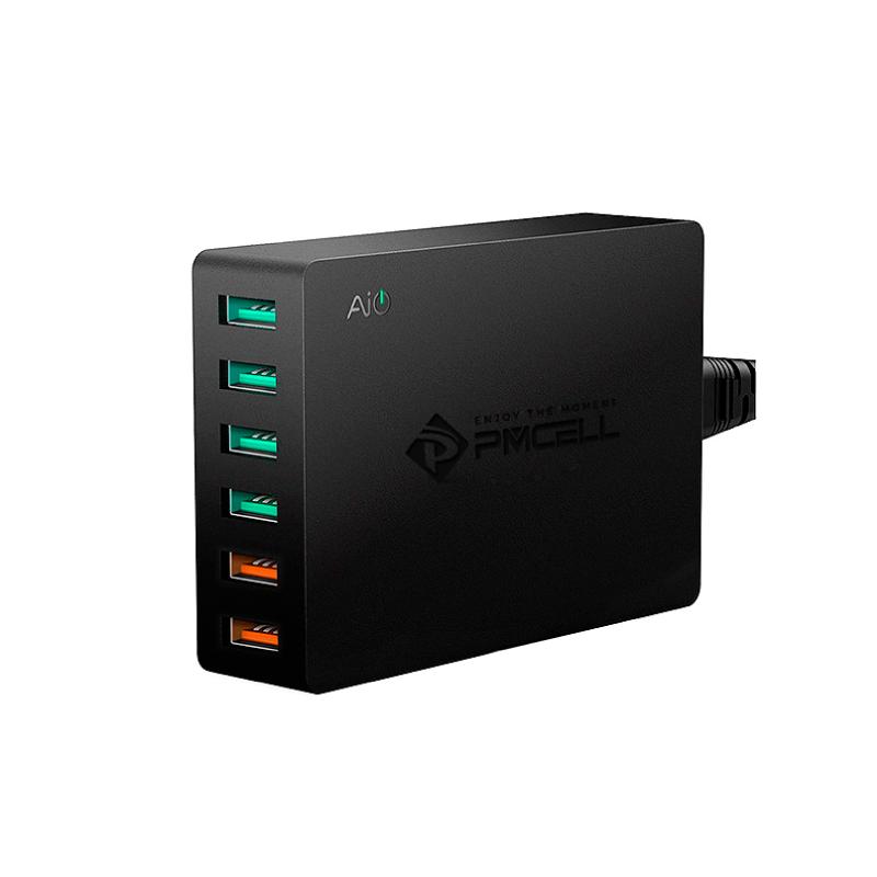 CARREGADOR TOMADA QUALCOMM 6x USB 4.8A TURBO PMCELL MAXX598 HC42