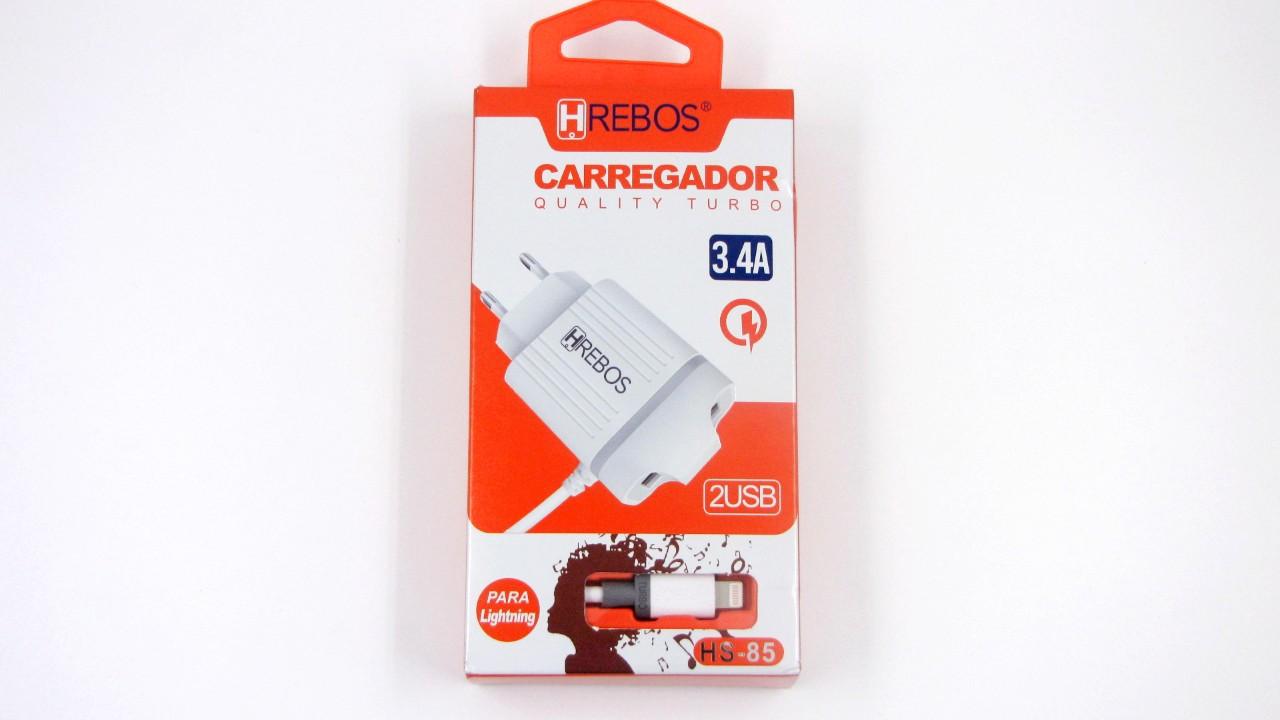 Carregador Turbo 3.1A 2 USB + Cabo Acoplado Lightning HS85 - HREBOS