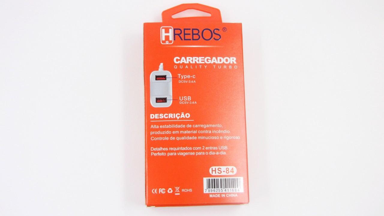 Carregador Turbo 3.1A 2 USB + Cabo Acoplado Tipo-C HS84 - HREBOS