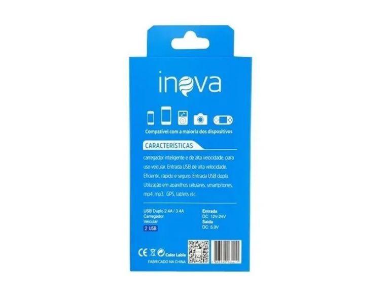 Carregador Veicular 2 USB 3.4A + Cabo Lightning Inova CAR-G5171