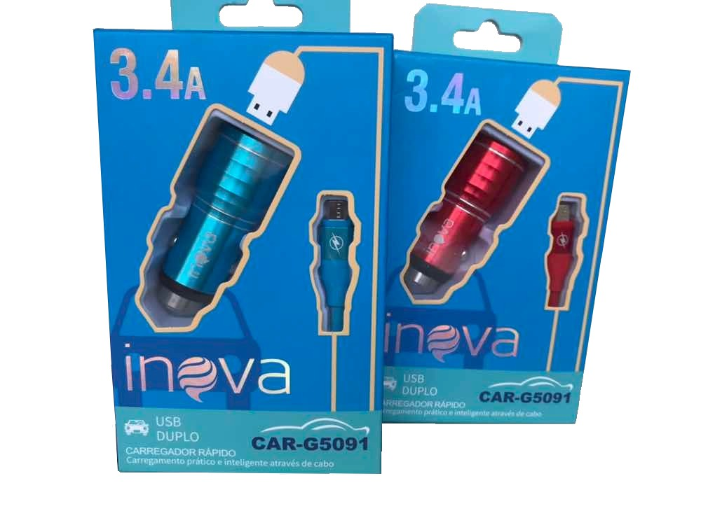 Carregador Veicular 2 USB 3.4A + Cabo V8 Inova CAR-G5091