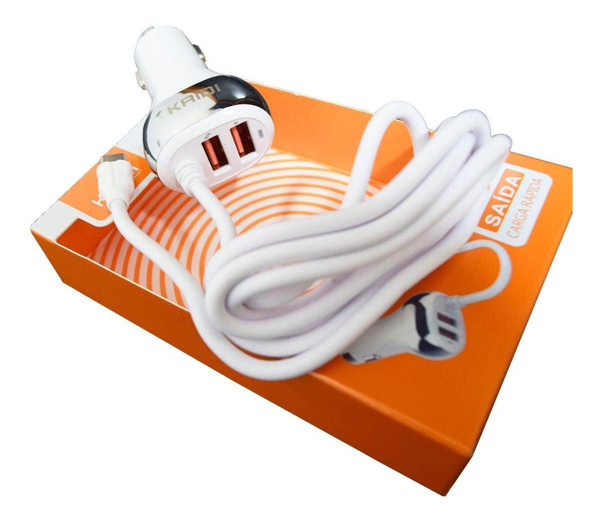Carregador Veicular 2 USB + Cabo TIPO C 4.8a Kd132C - KAIDI