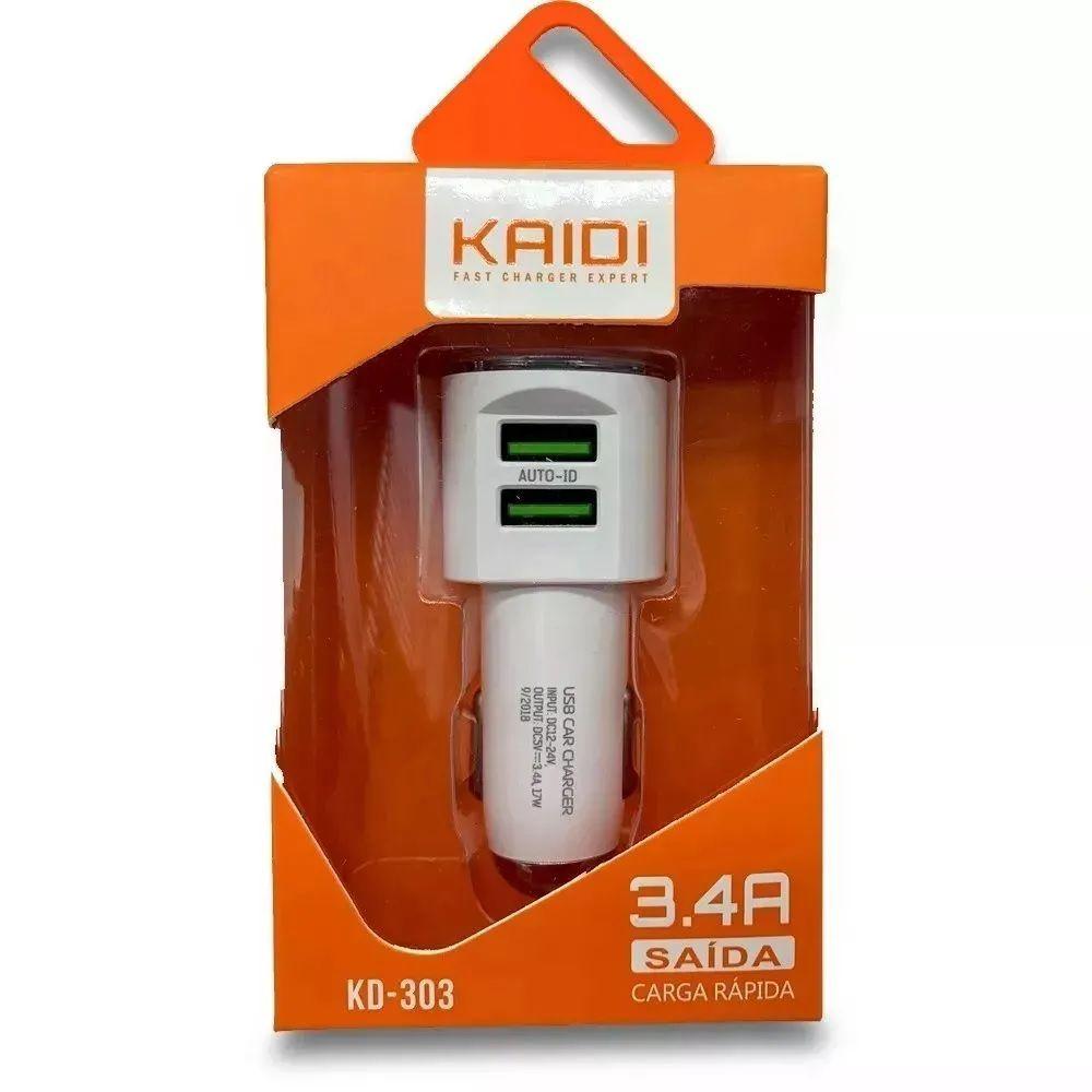 Carregador Veicular 3.4a KD303 s/ Cabo USB