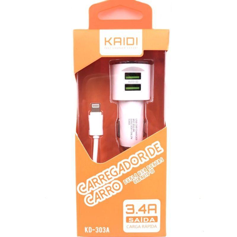 Carregador Veicular Turbo 2x USB 3.4a Kaidi KD303a C/ Cabo Lightning