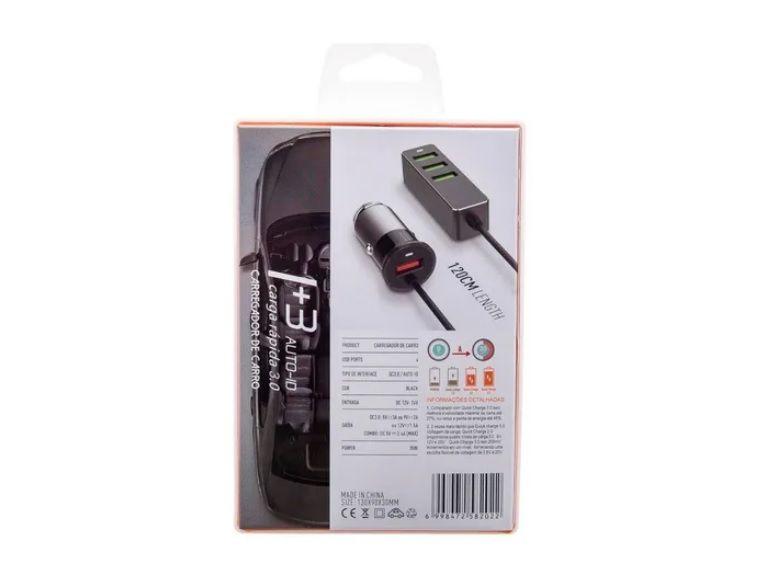 Carregador Veicular Turbo 3.4a 4 USB Extensão P/ Passageiros KD-131