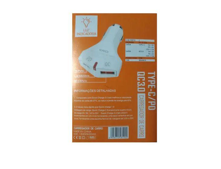 Carregador Veicular Turbo 3a 36W Entrada PD e QC KD-551A C/ Cabo Lightning