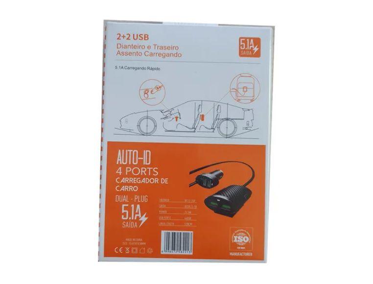 Carregador Veicular Turbo 5.1ª 4 USB Extensão P/ Passageiros KD-401