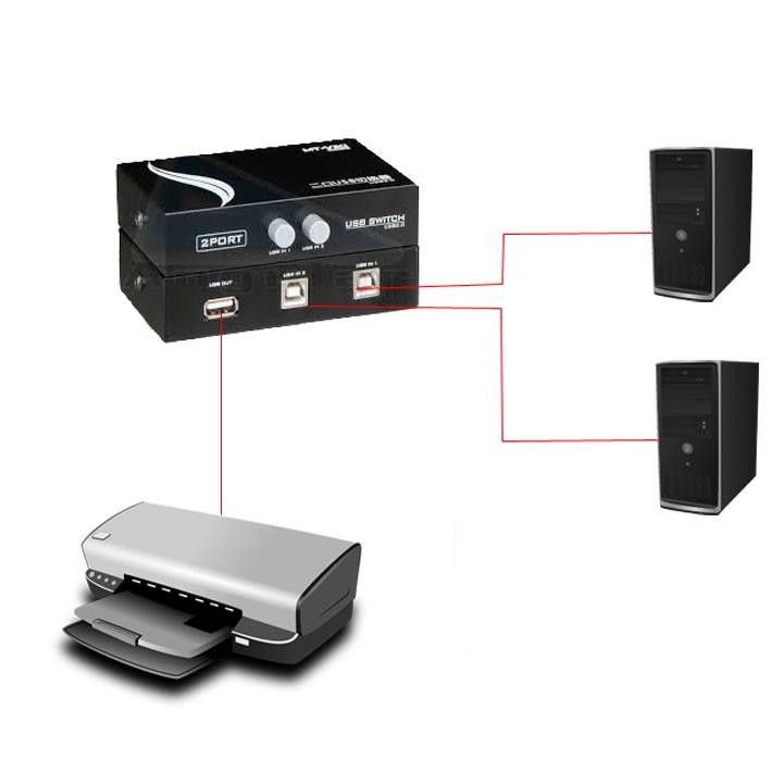 Chaveador USB 2 portas p/ Impressora