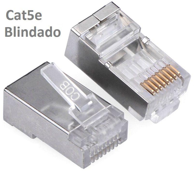 Conector Blindado CAT5E RJ45 (100 unidades)