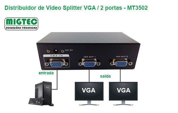 Distribuidor de Video 2 portas (VGA Splitter) Bivolt