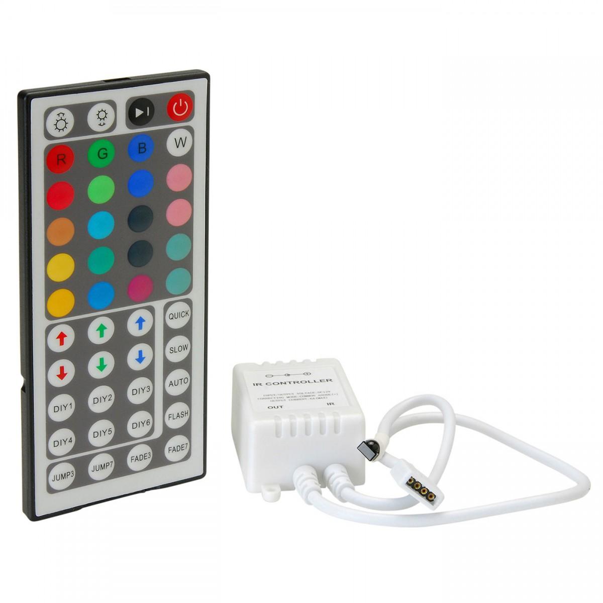 Fita de Led 5m 300 Leds RGB 5050 Prova D´Água + Controle Remoto + Fonte 2A