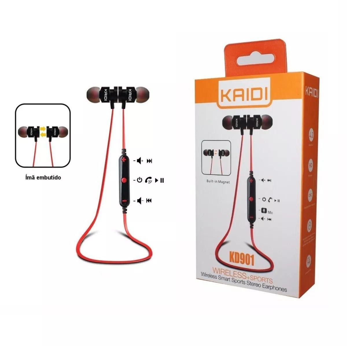 Fone de Ouvido Bluetooth Intra-Auricular Magnético Kaidi KD901