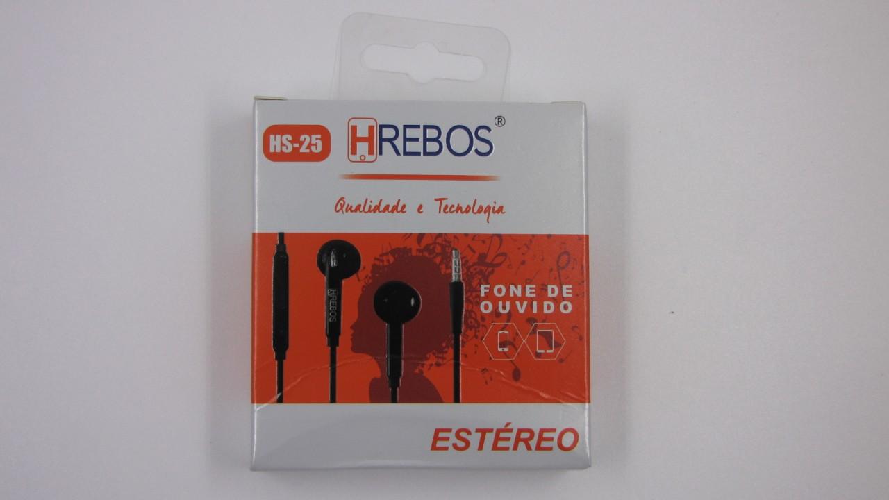 Fone de Ouvido intra auricular - Ear Tips - HS25 - HREBOS