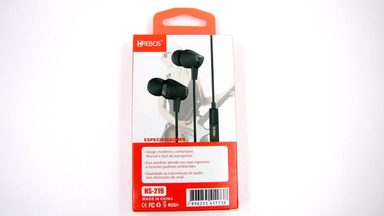 Fone de Ouvido Stereo Intra Auricular c/ Microfone HS219 - HREBOS