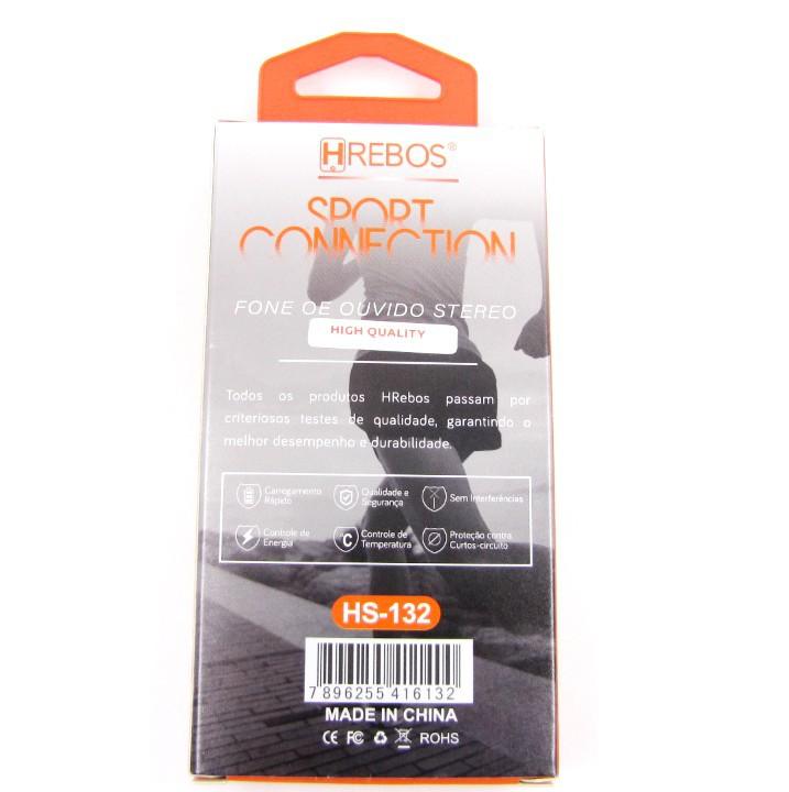 Fone de Stereo Intra Auricular com Microfone - Sport Connection BRANCO HS132 - HREBOS