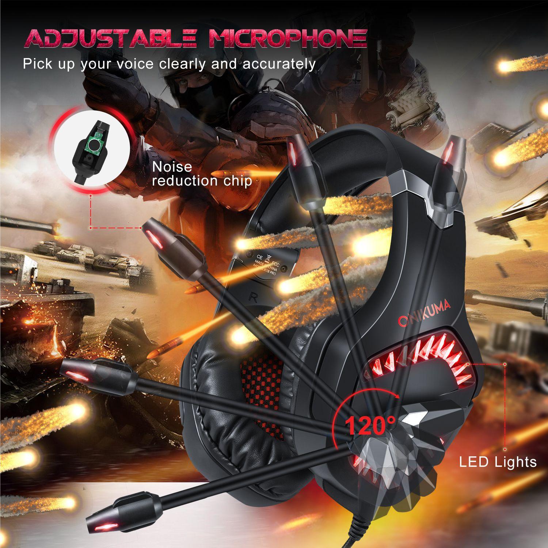 Fone Ouvido Headset Gamer K1 Pro Spectrum Vermelho Led Onikuma