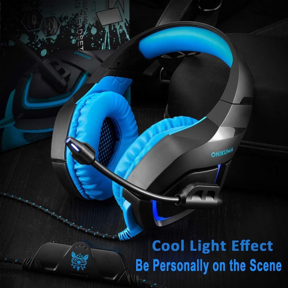 Fone Ouvido Headset Gamer K1B Blue Led Onikuma