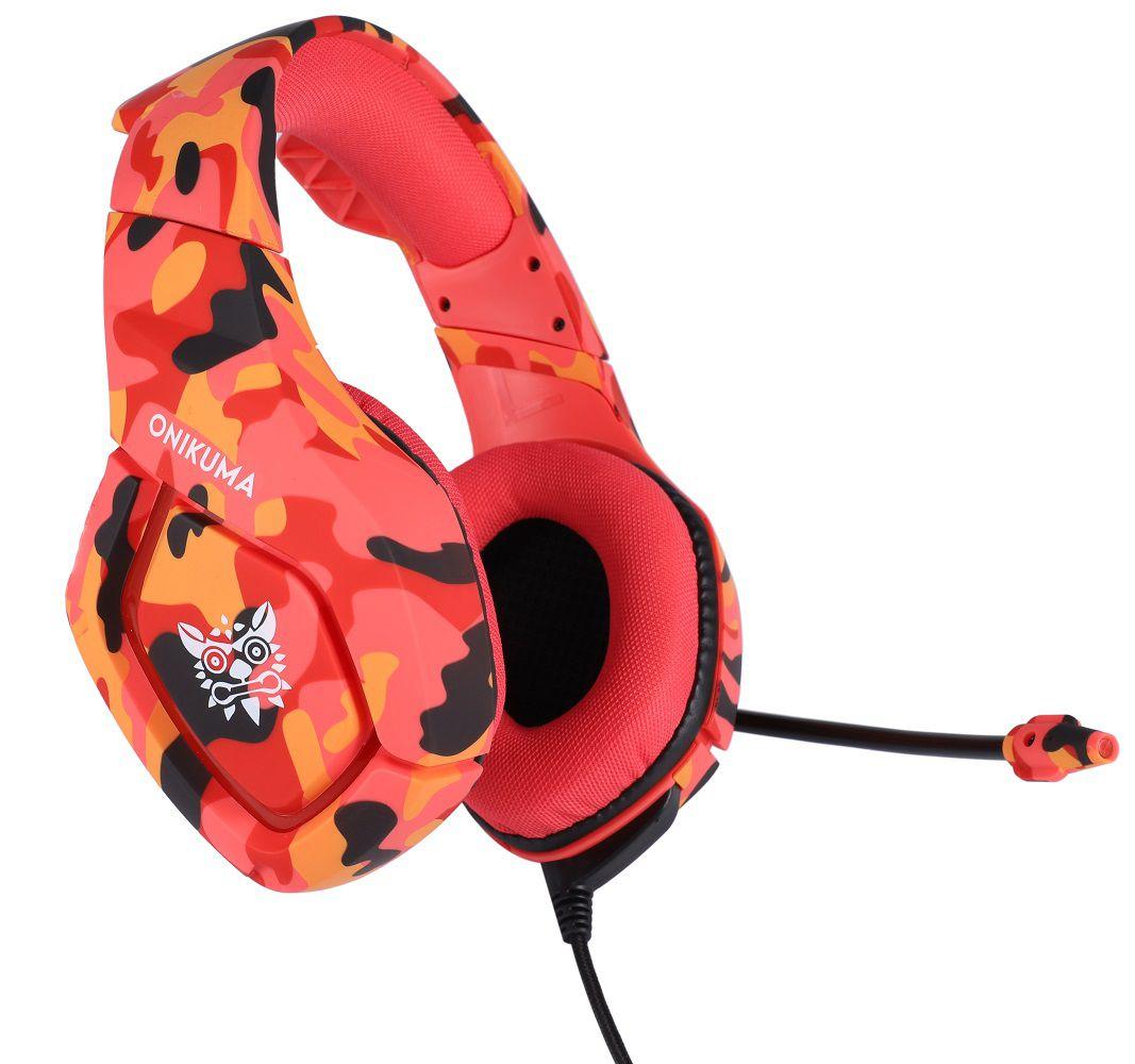 Fone Ouvido Headset Gamer K1B Camuflado Red Vulcan Onikuma