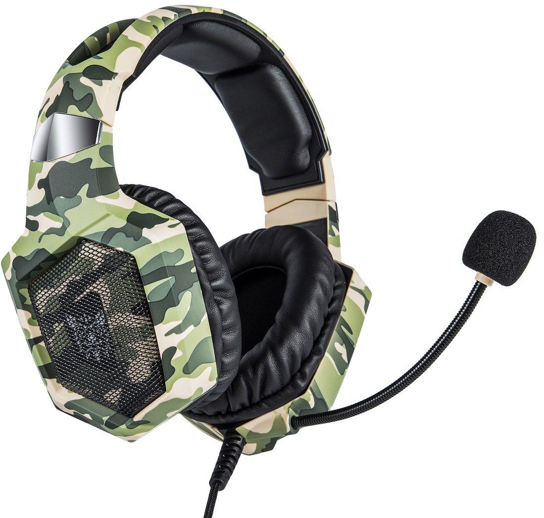 Fone Ouvido Headset Gamer K8 Camuflado RGB Led Onikuma