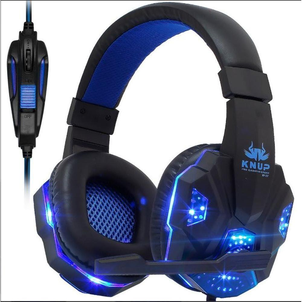 Fone Ouvido Headset Gamer PC P2 C/ LED Knup KP-396