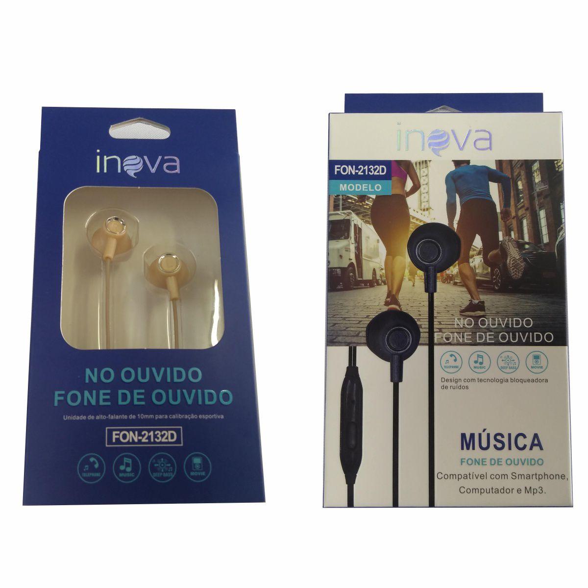 Fone Ouvido Intra-auricular c/ Microfone Inova FON-2132D