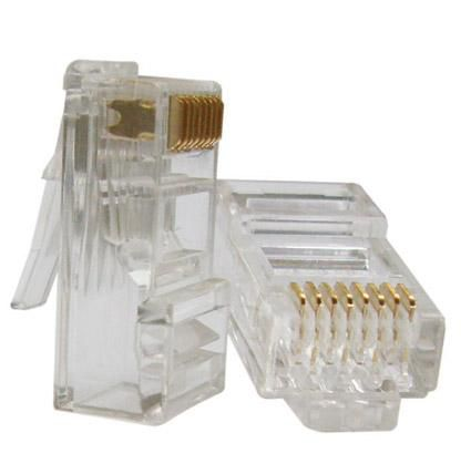 Kit 100 Conector Cat5e RJ45 + 100 Conector CAT5e Blindado