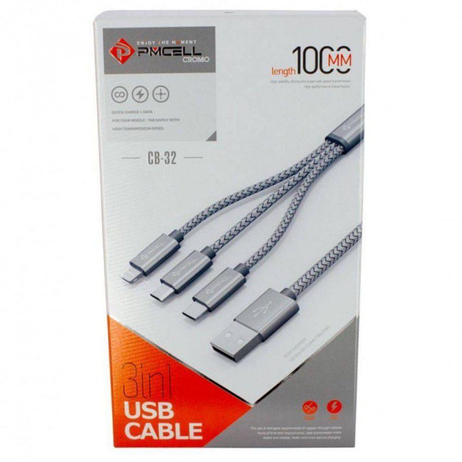 Kit 10 CABO DADOS USB 3x1 (Micro USB / Lightning / Tipo-C) - PMCELL CROMO739 CB32