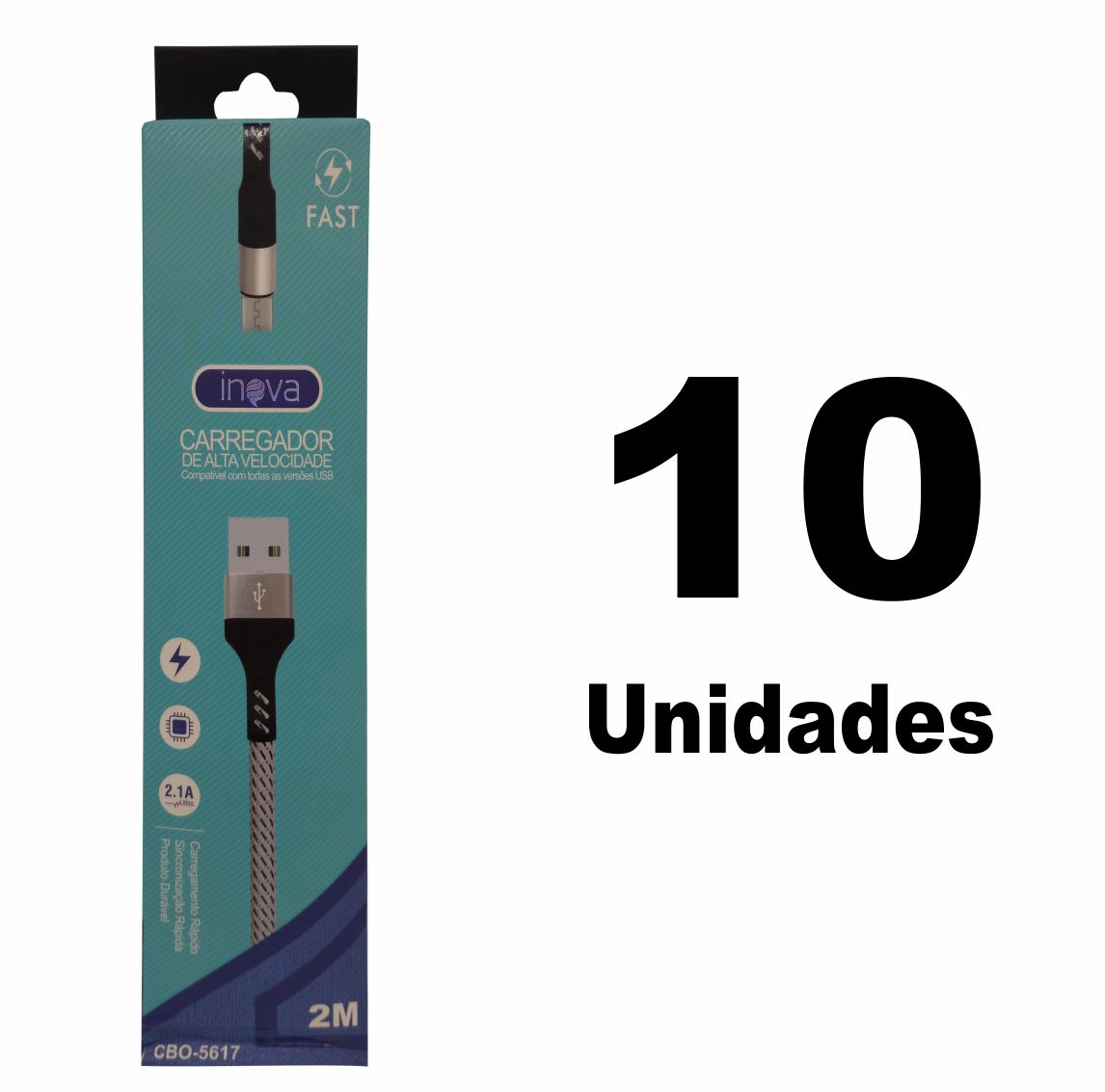 Kit 10 Cabo USB V8 2M Turbo Inova 2.1A CBO-5617 Atacado