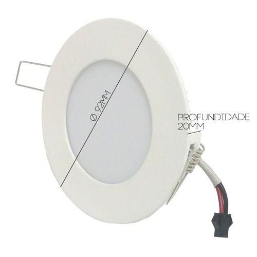 Kit 10 Plafon Painel Redondo Led Slim 3W Branco Puro