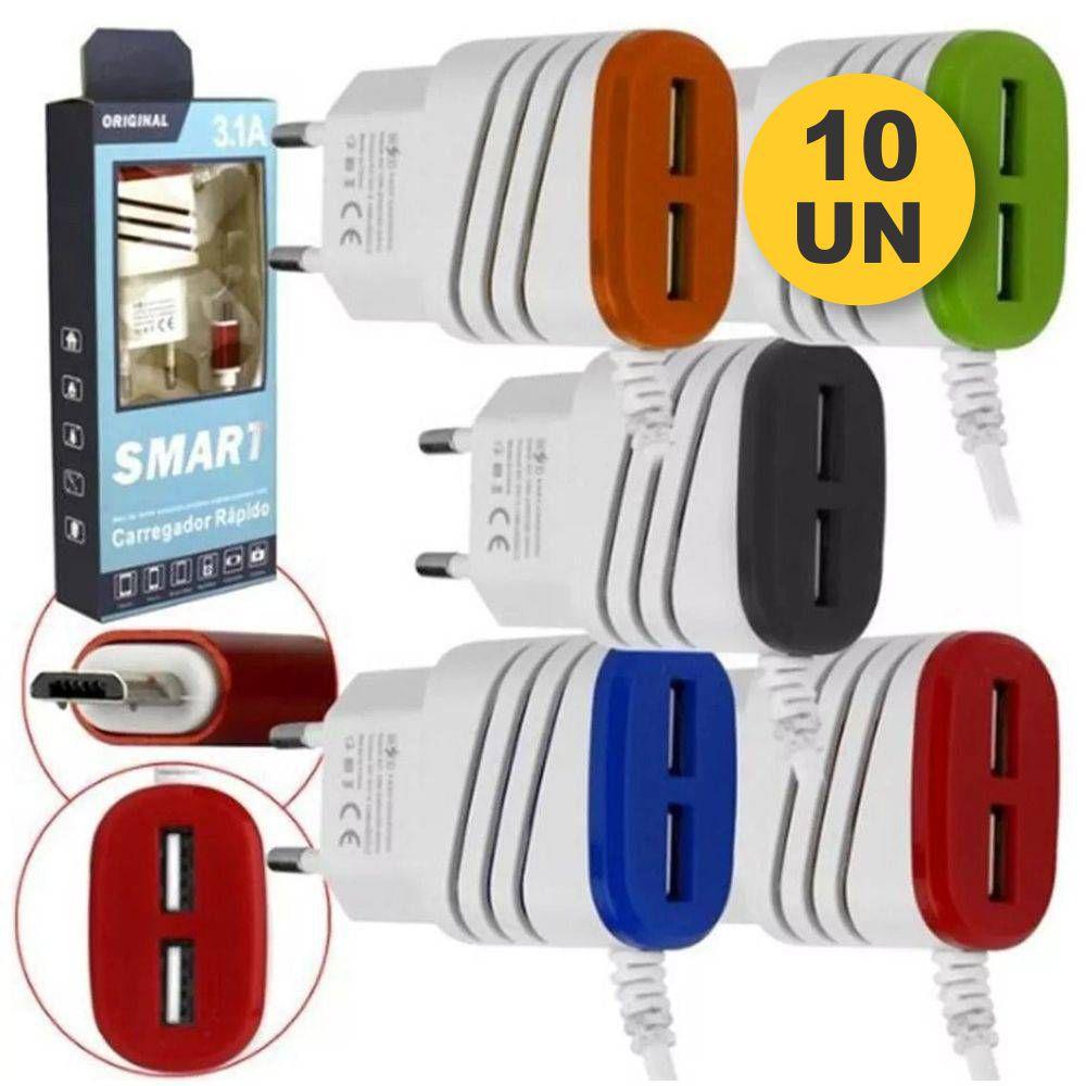 Kit 10x Carregador Rápido 2 USB C/ Cabo V8 Embutido 3.1A ORIGINAL