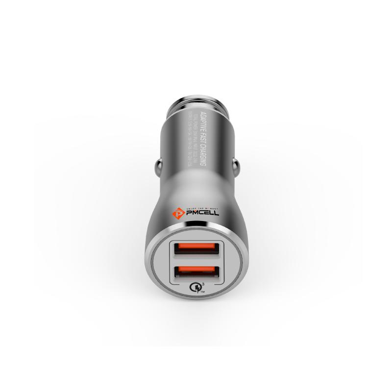 Kit 10x CARREGADOR VEICULAR 5A 2x USB QUALCOMM PMCELL MAXX589 CV-35